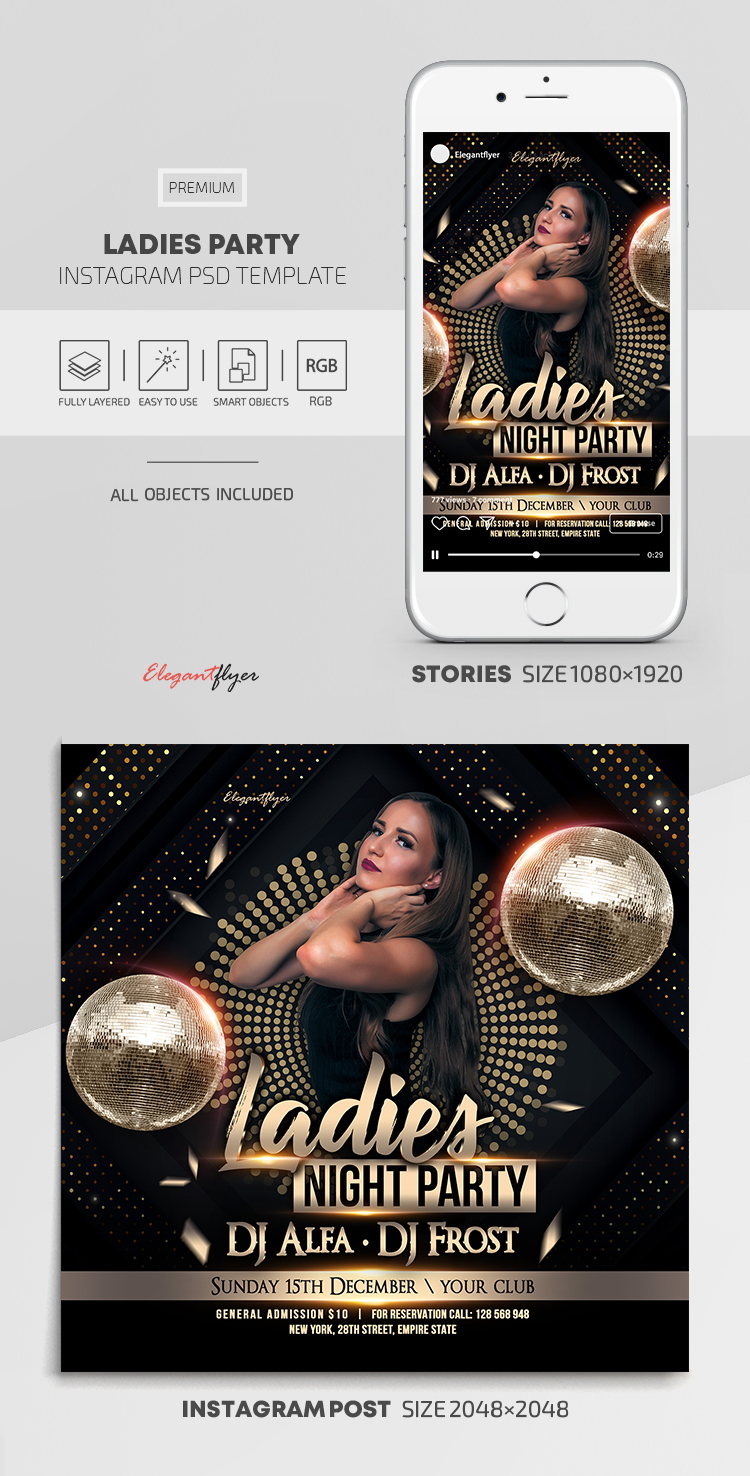 Ladies Party – Instagram Stories Template in PSD + Post Templates