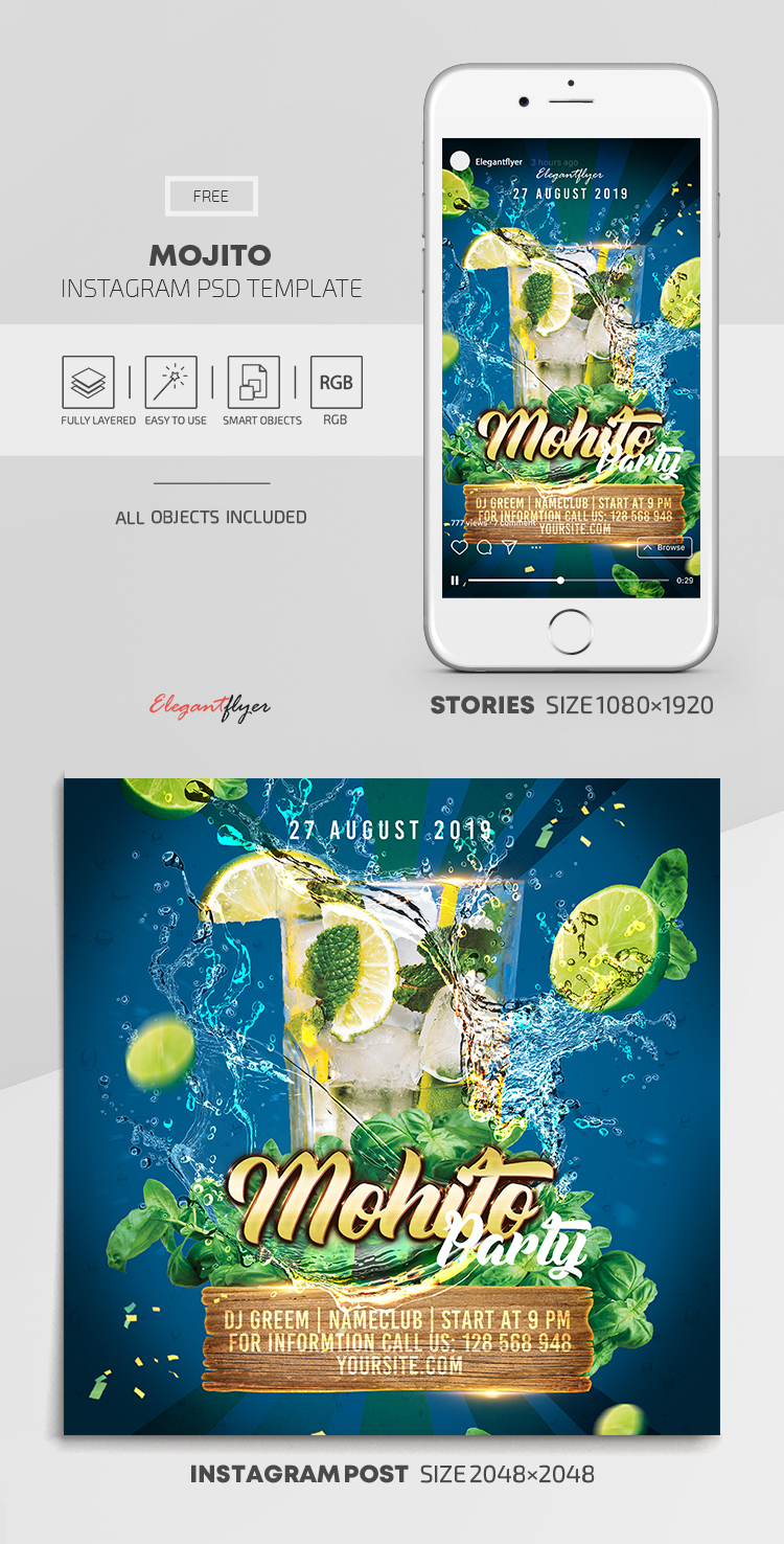 Mojito Club Party – Free Instagram Stories Template in PSD + Post Templates