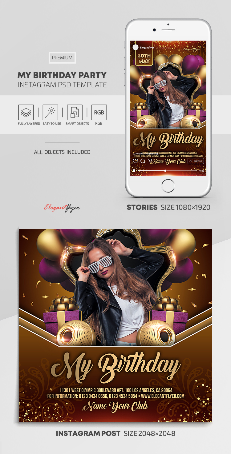 My Birthday Party – Instagram Stories Template in PSD + Post Templates