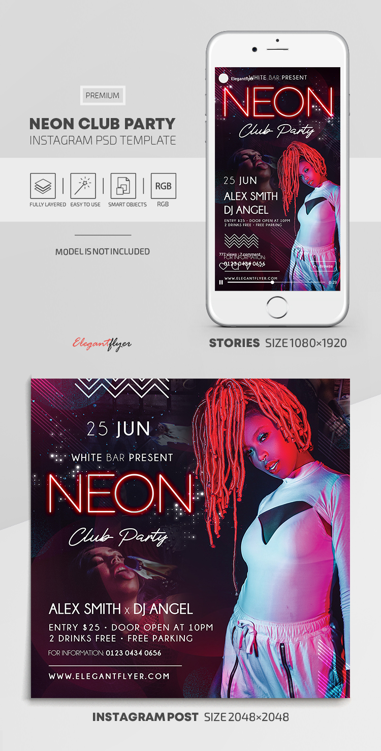Neon Club Party – Instagram Stories Template in PSD + Post Templates