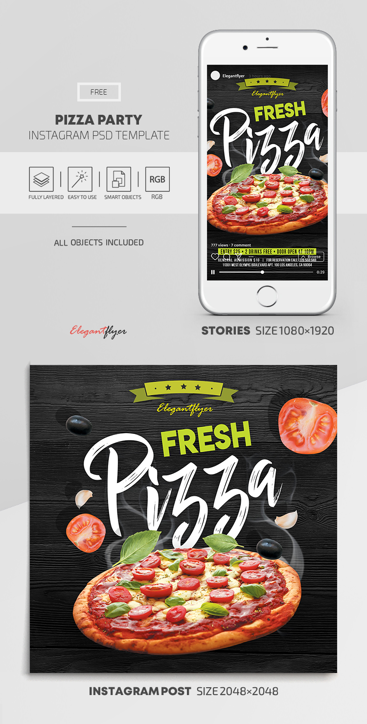 Pizza Party – Free Instagram Stories Template in PSD + Post Templates