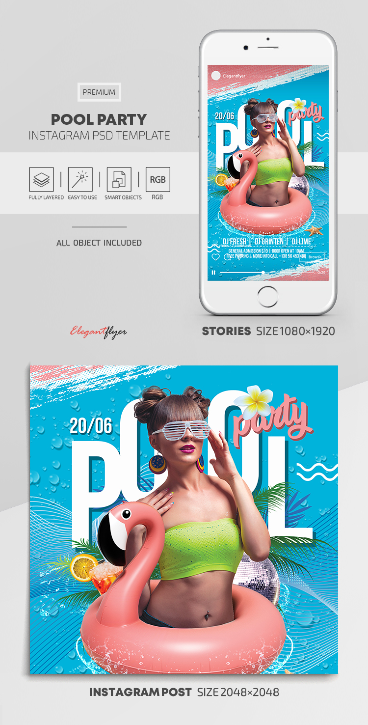 Pool Party – Instagram Stories Template in PSD + Post Templates