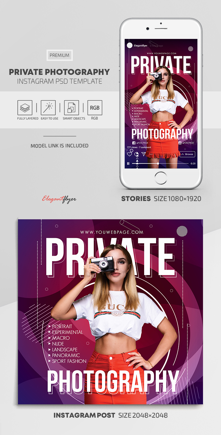 Private Photography – Instagram Stories Template in PSD + Post Templates