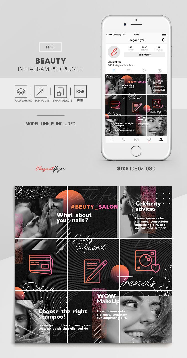 Beauty – Free Instagram PSD Puzzle