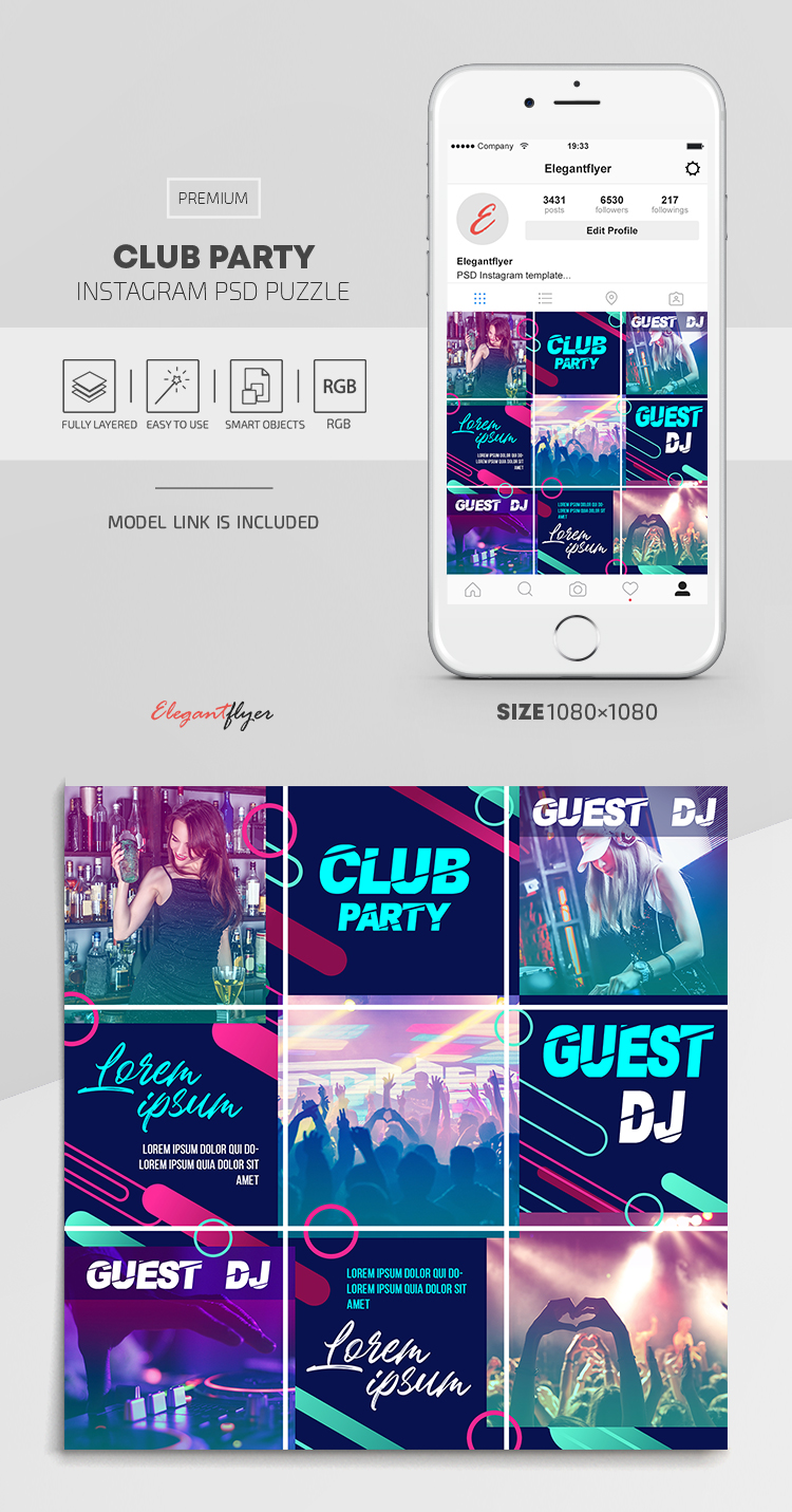 Club Party – Instagram PSD Puzzle