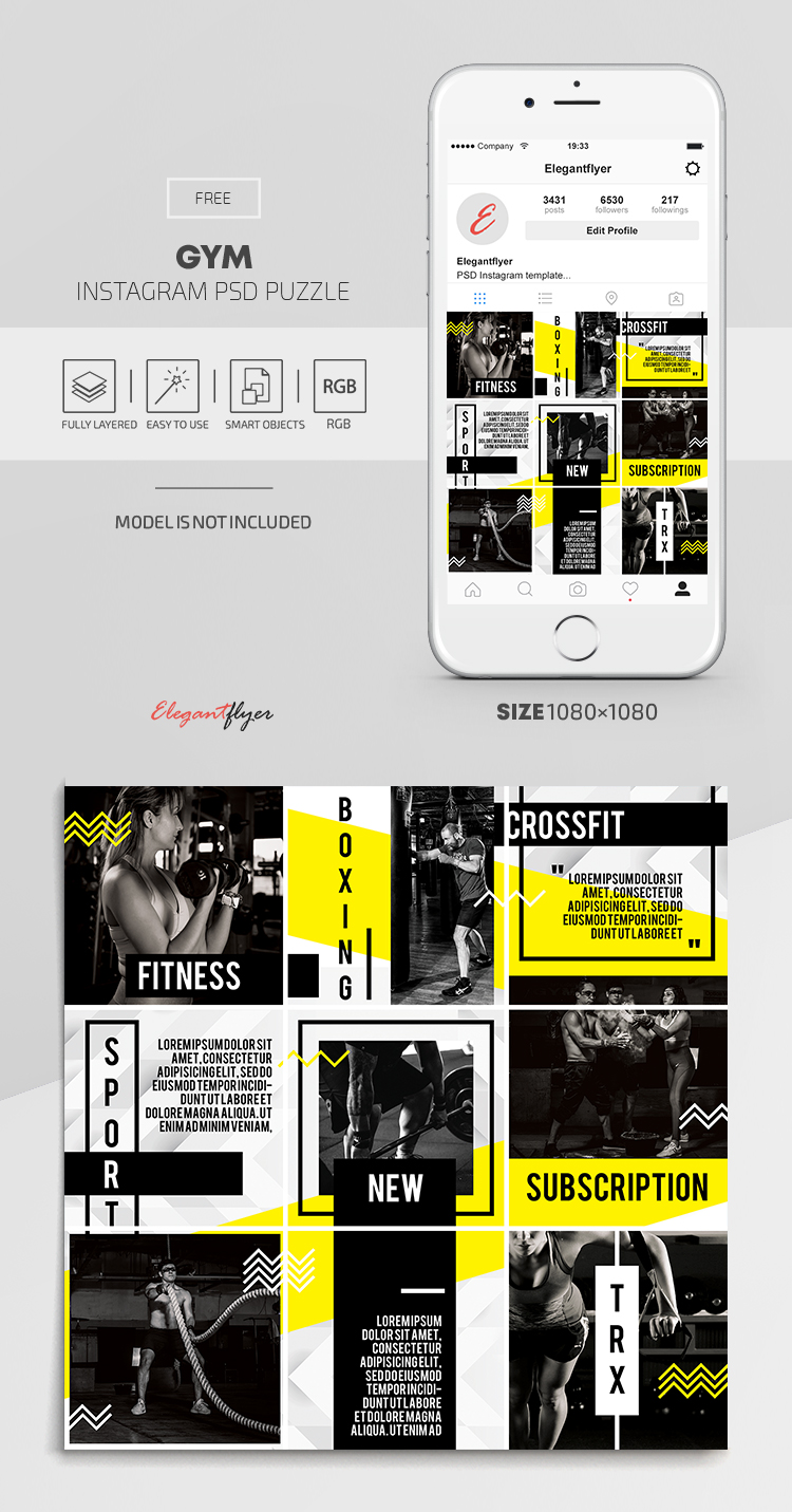 GYM – Free Instagram PSD Puzzle (September)
