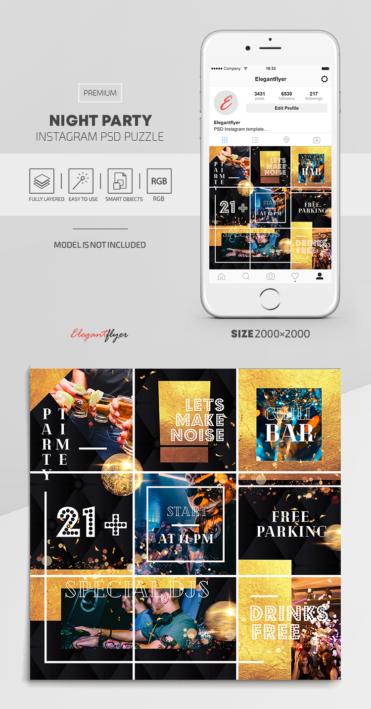 Night Party – Instagram PSD Puzzle
