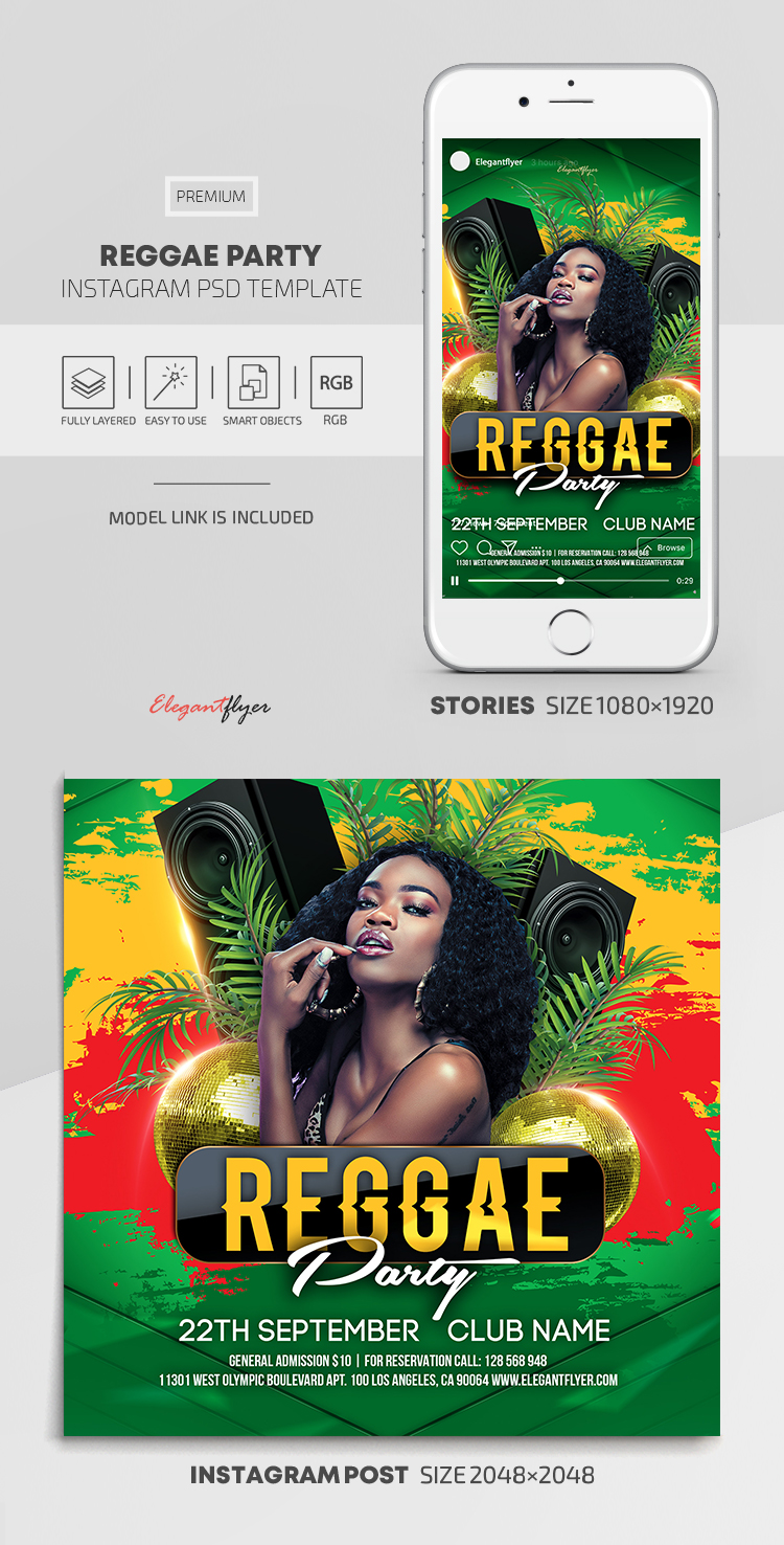 Reggae Party – Instagram Stories Template in PSD + Post Templates