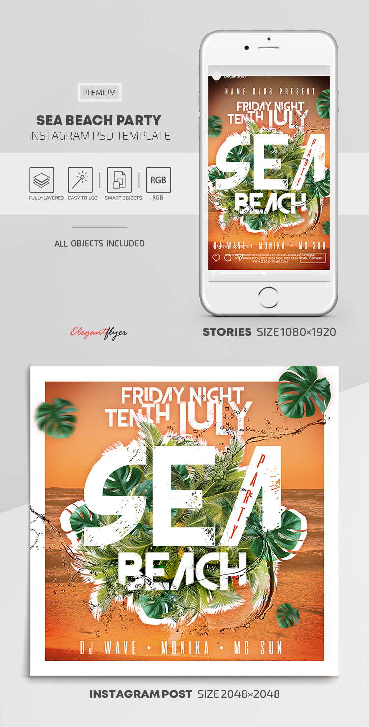 Sea Beach Party – Instagram Stories Template in PSD + Post Templates