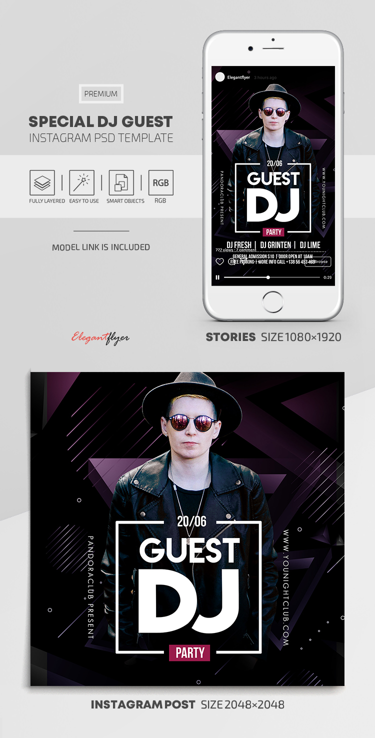 Special Dj Guest – Instagram Stories Template in PSD + Post Templates