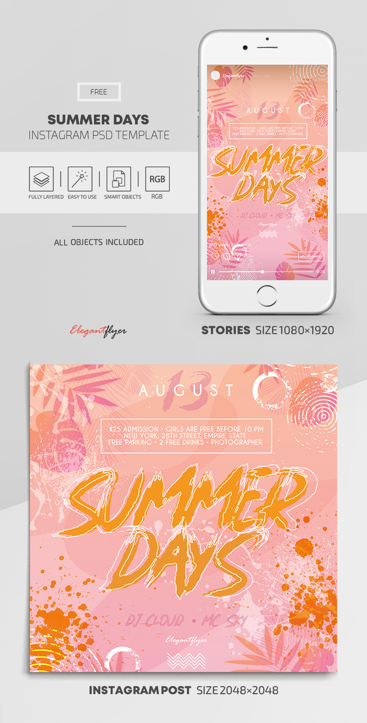 Summer Days – Free Instagram Stories Template in PSD + Post Templates