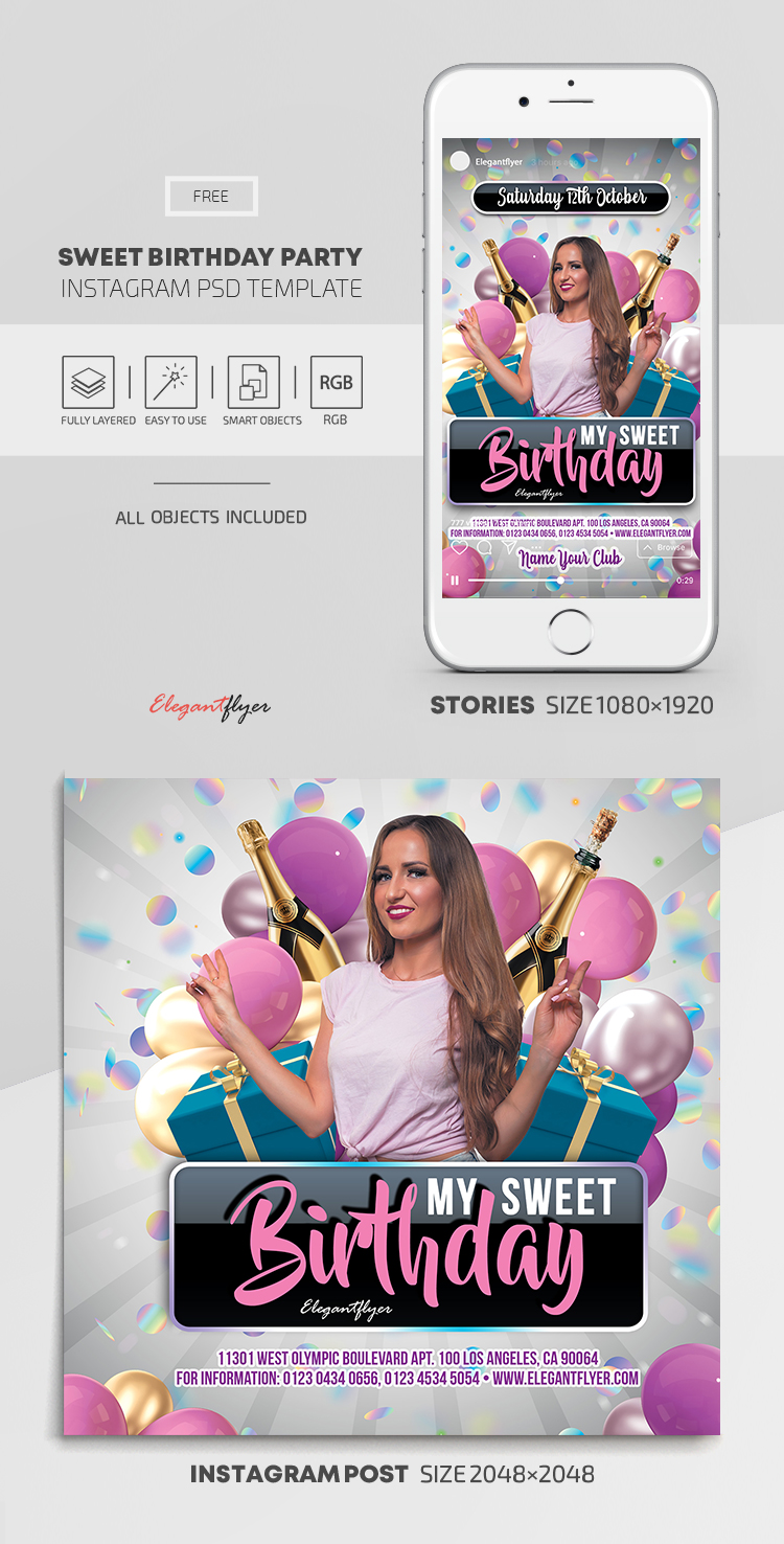Sweet Birthday Party – Free Instagram Stories Template in PSD + Post Templates