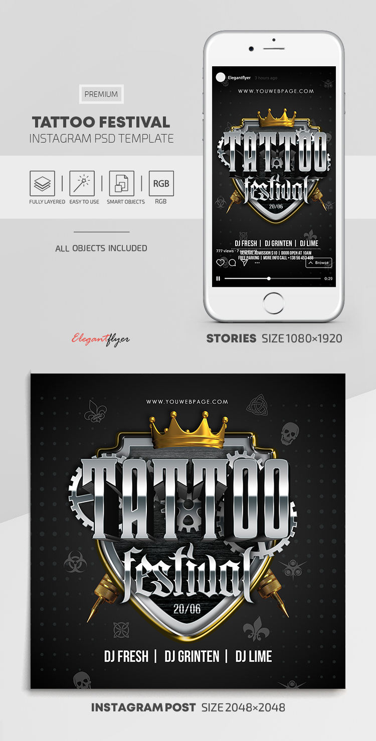 Tattoo Festival – Instagram Stories Template in PSD + Post Templates