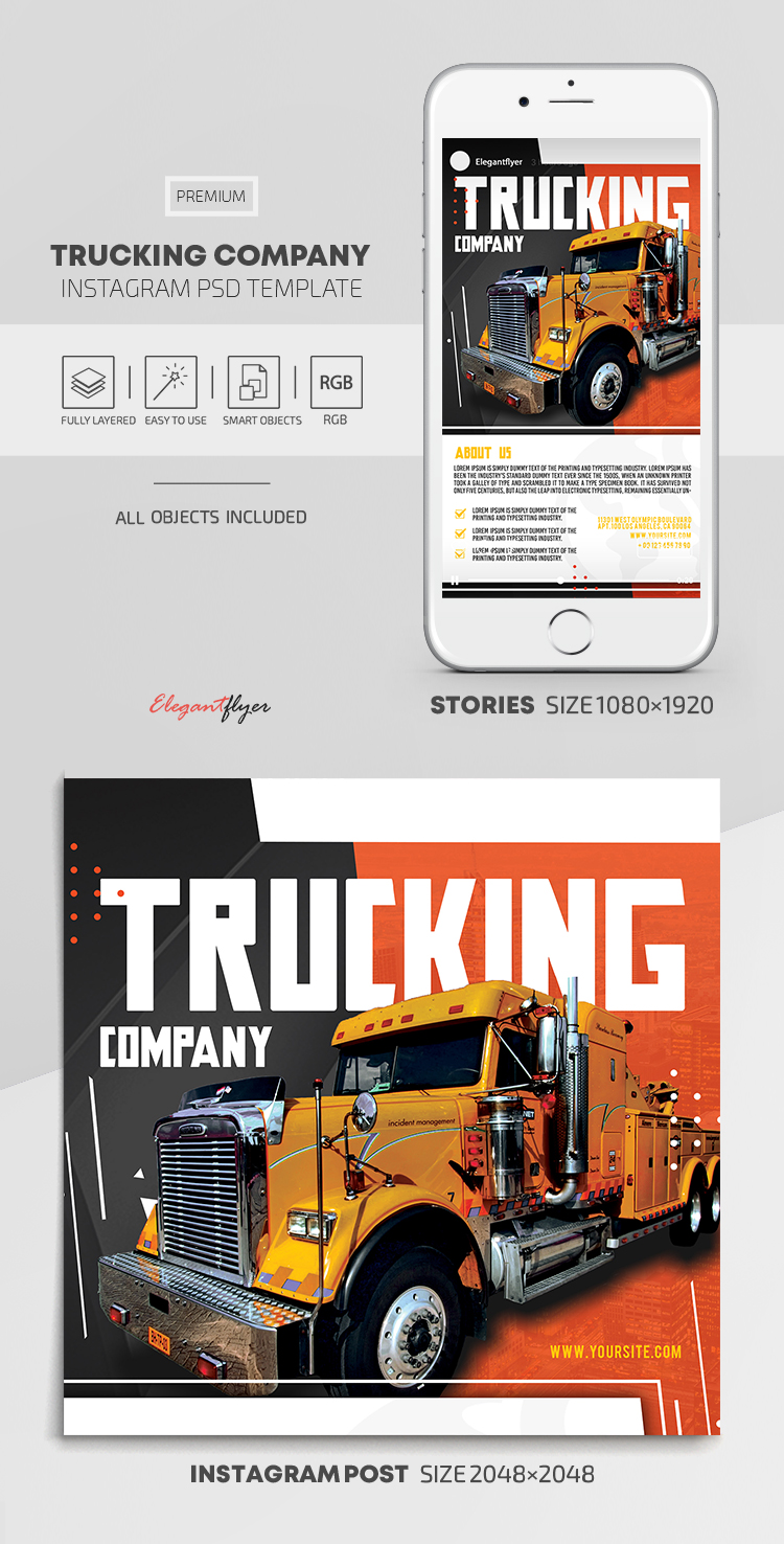 Trucking Company – Instagram Stories Template in PSD + Post Templates