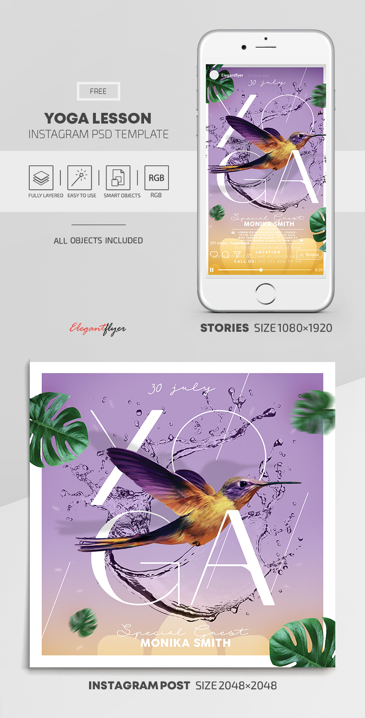 Yoga Lesson – Free Instagram Stories Template in PSD + Post Templates