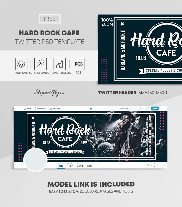 Hard Rock Cafe – Free Twitter Header PSD Template