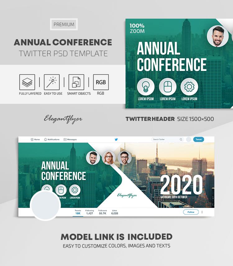 Annual Conference – Twitter Header PSD Template