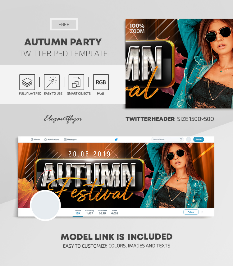 Autumn Party – Free Twitter Header PSD Template