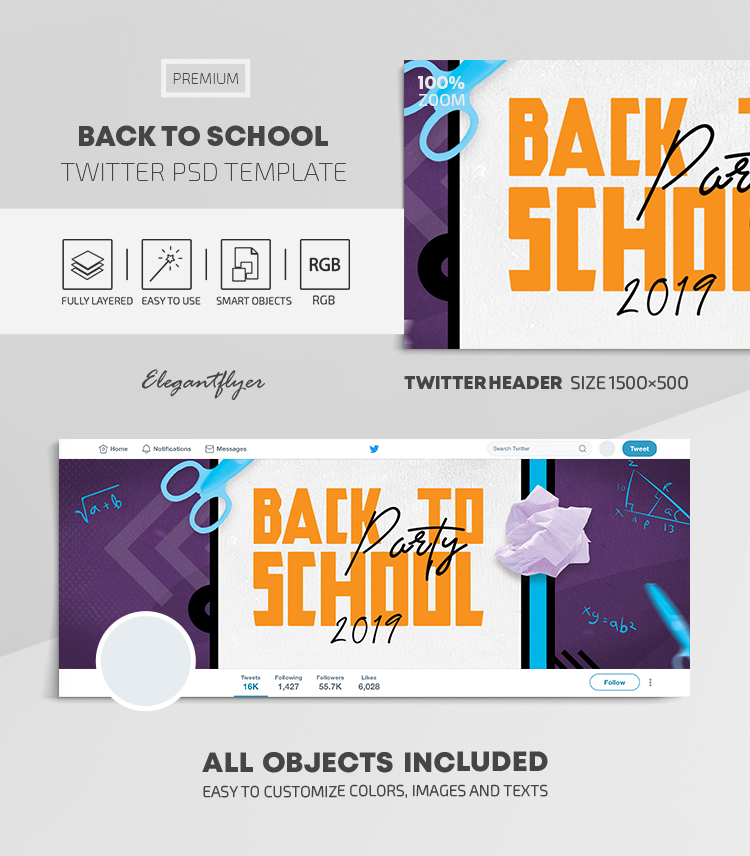 Back to School – Twitter Header PSD Template (September)