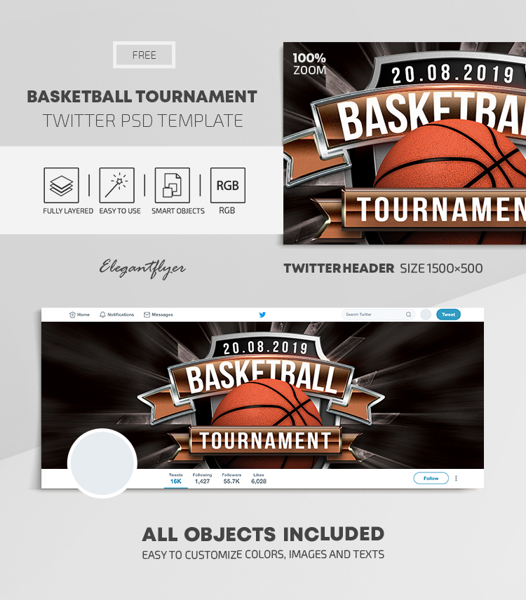 Basketball Tournament – Free Twitter Header PSD Template