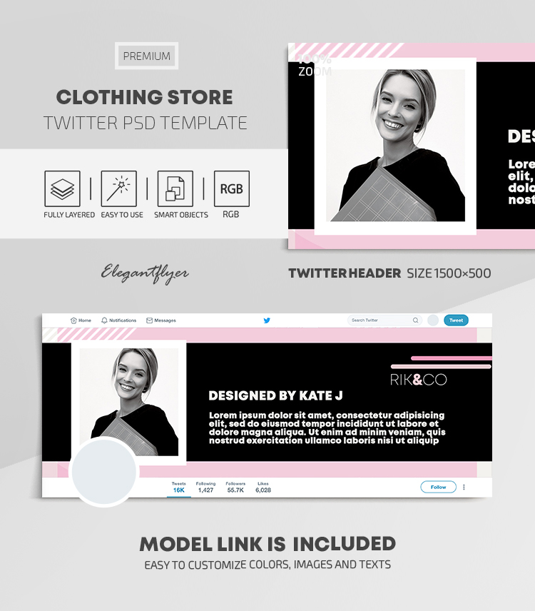 Clothing Store – Twitter Header PSD Template