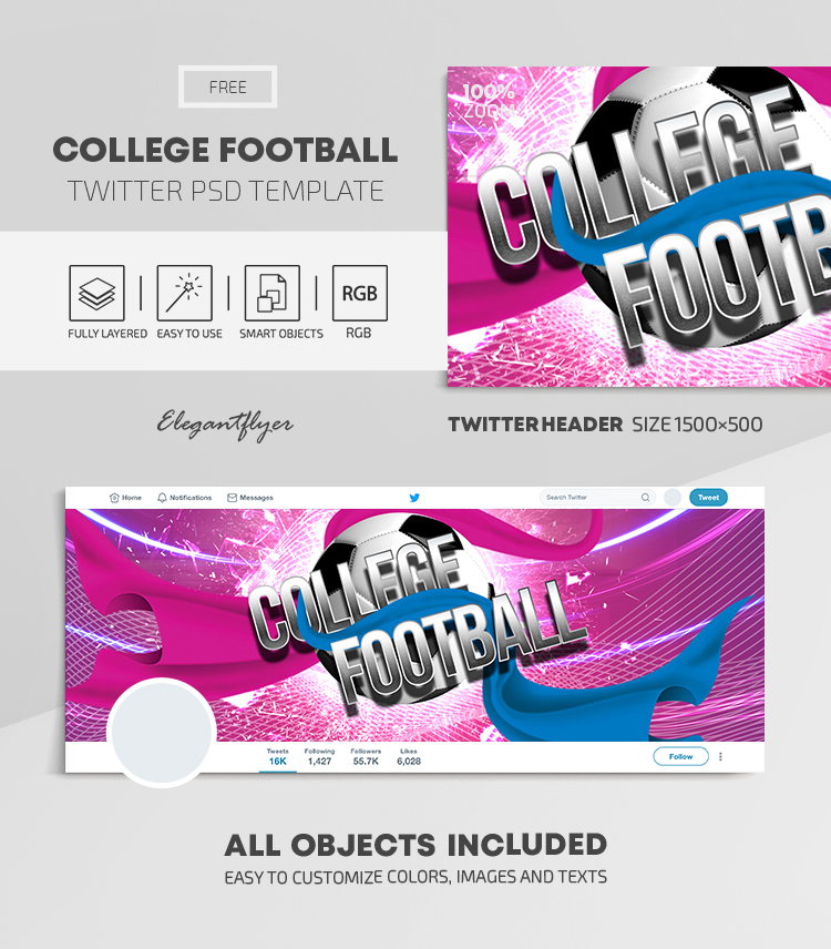 College Football – Free Twitter Header PSD Template