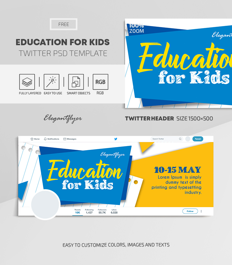 Education for Kids – Free Twitter Header PSD Template