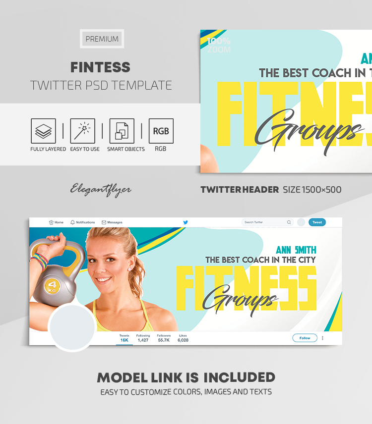 Fintess – Twitter Header PSD Template
