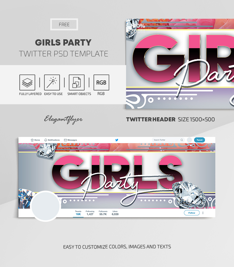 Girls Party – Free Twitter Header PSD Template