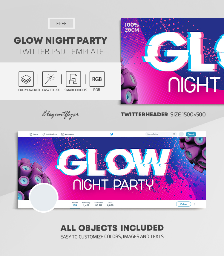 Glow Night Party – Free Twitter Header PSD Template