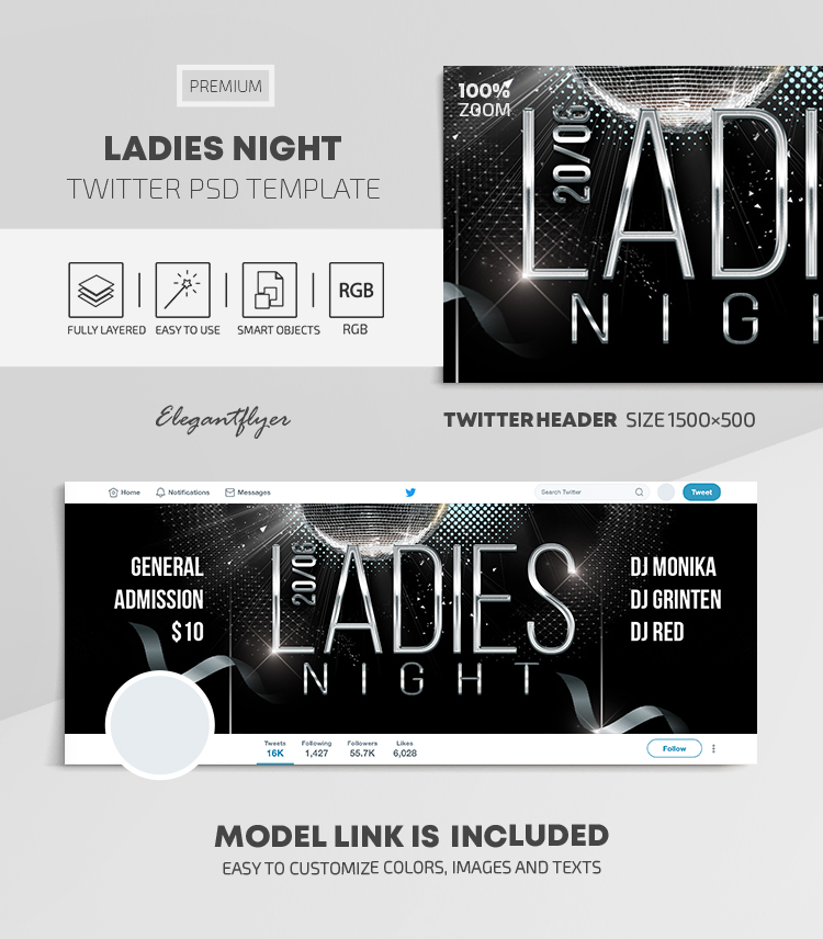 Ladies Night – Twitter Header PSD Template
