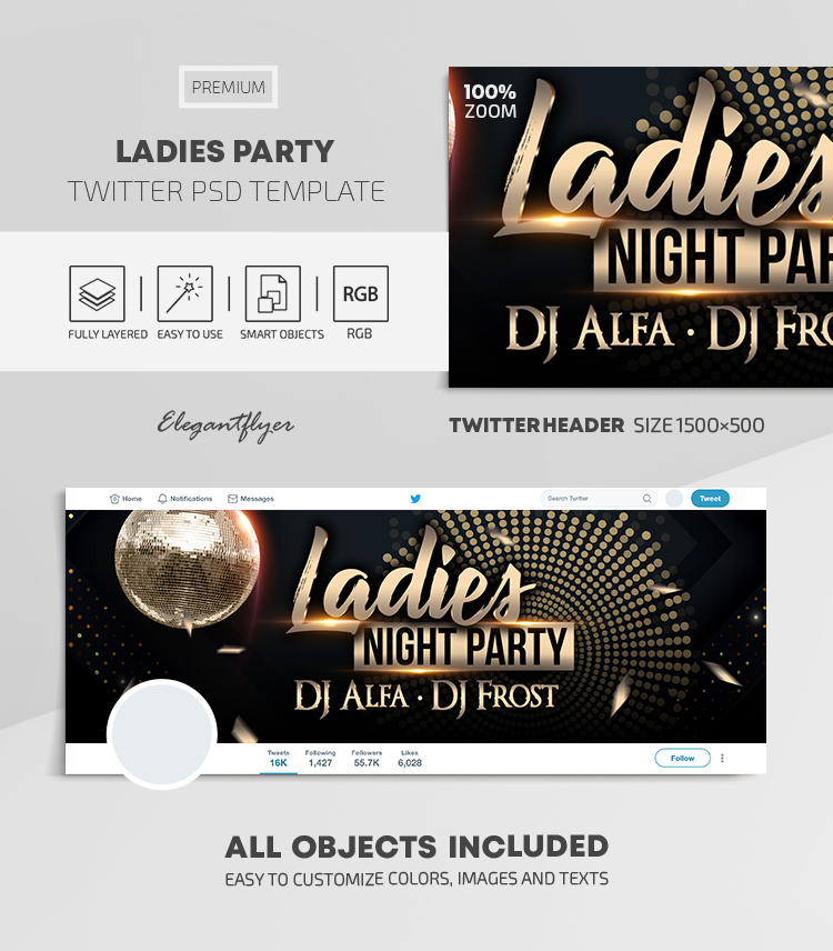 Ladies Party – Twitter Header PSD Template