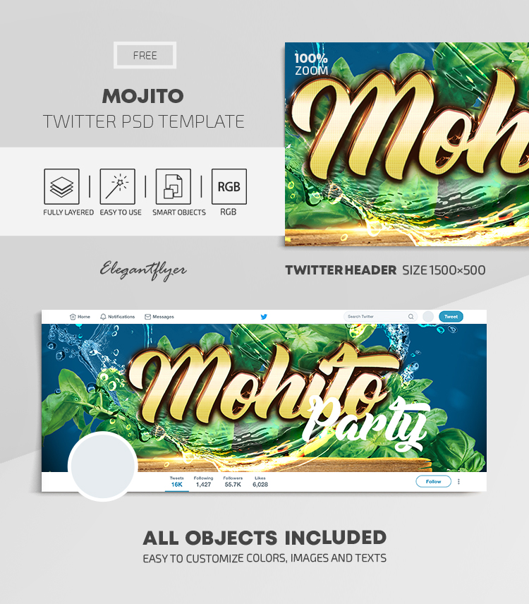 Mojito Club Party – Free Twitter Header PSD Template