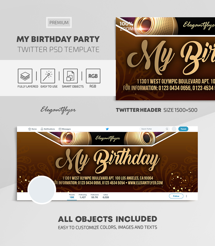 My Birthday Party – Twitter Header PSD Template