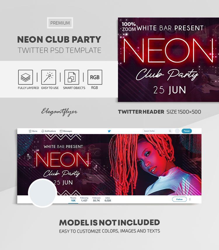 Neon Club Party – Twitter Header PSD Template