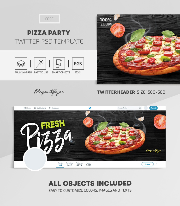 Pizza Party – Free Twitter Header PSD Template