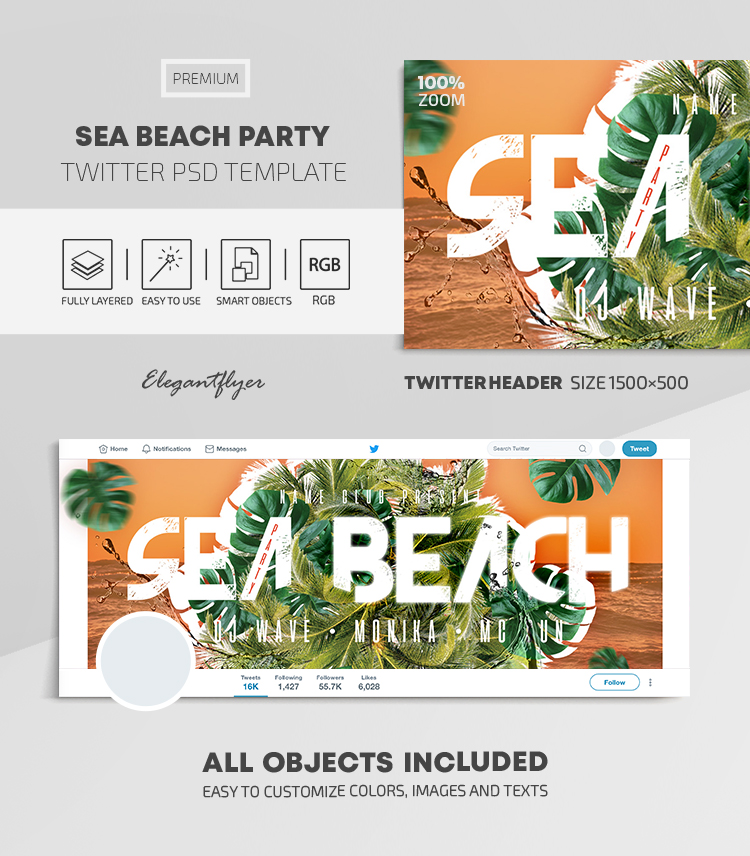 Sea Beach Party – Twitter Header PSD Template