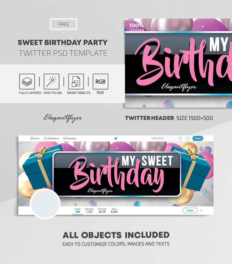 Sweet Birthday Party – Free Twitter Header PSD Template