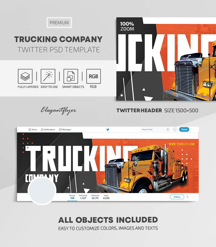Trucking Company – Twitter Header PSD Template