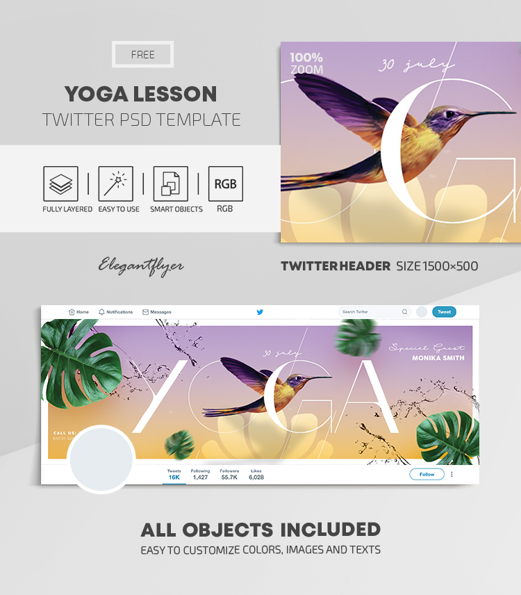 Yoga Lesson – Free Twitter Header PSD Template