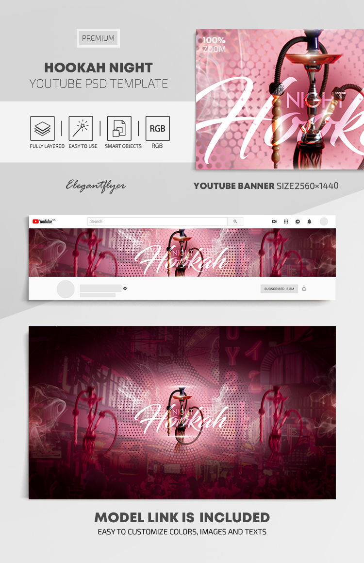 Hookah Night – Free Youtube Channel banner PSD Template