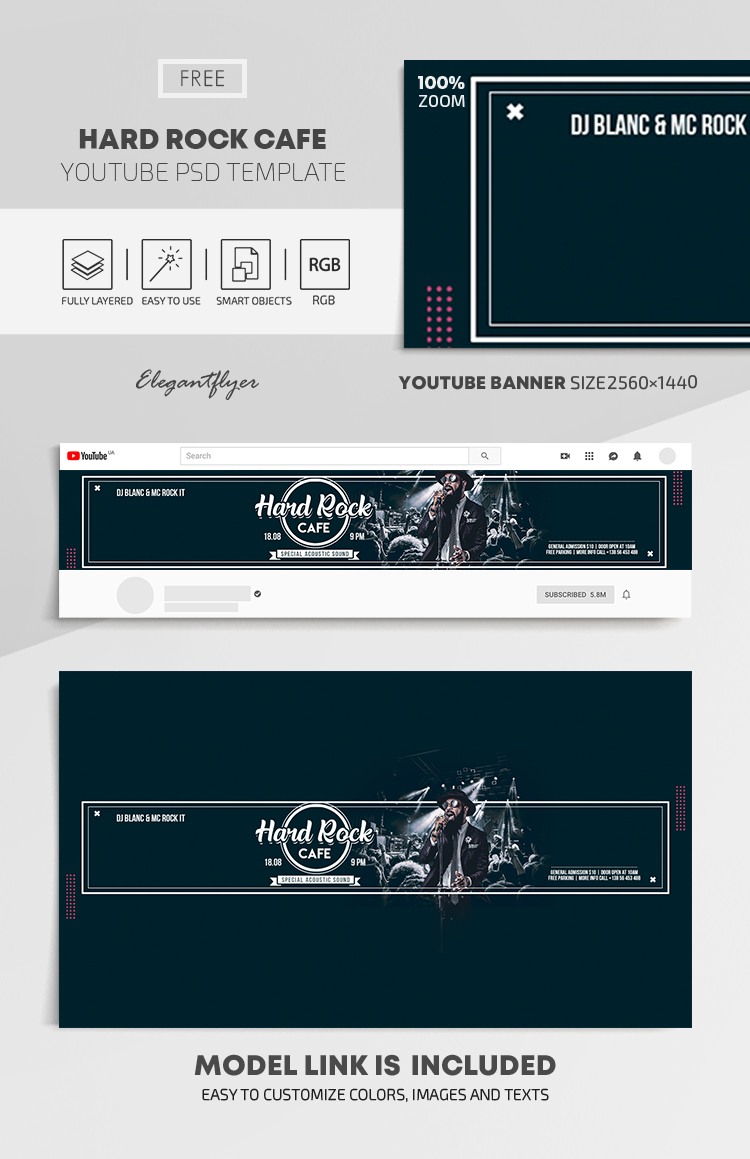 Hard Rock Cafe – Free Youtube Channel banner PSD Template