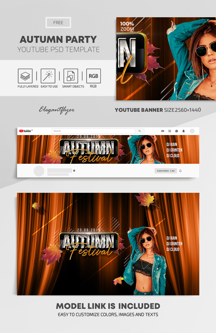 Autumn Party – Free Youtube Channel banner PSD Template