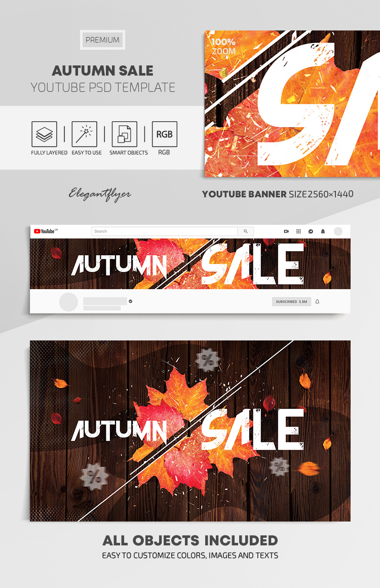 Autumn Sale – Youtube Channel banner PSD Template