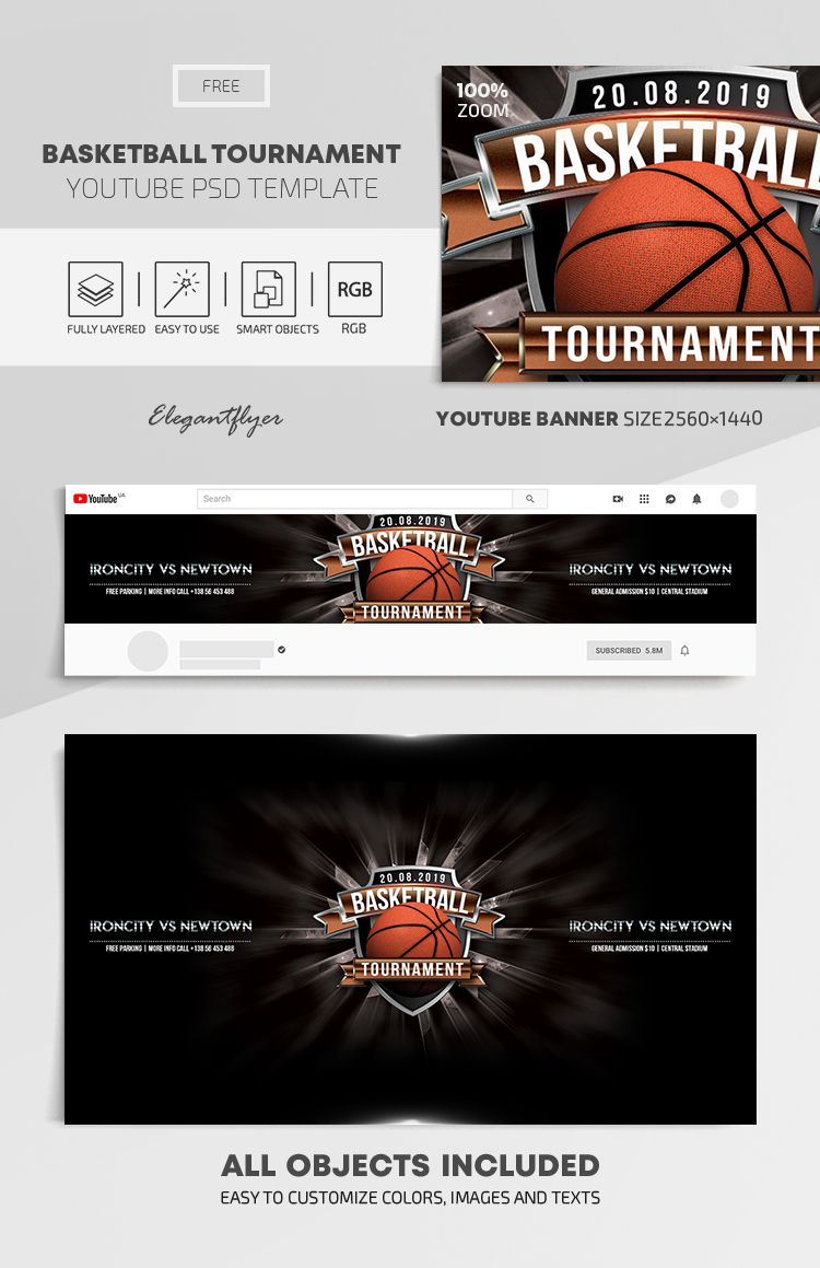 Basketball Tournament – Free Youtube Channel banner PSD Template