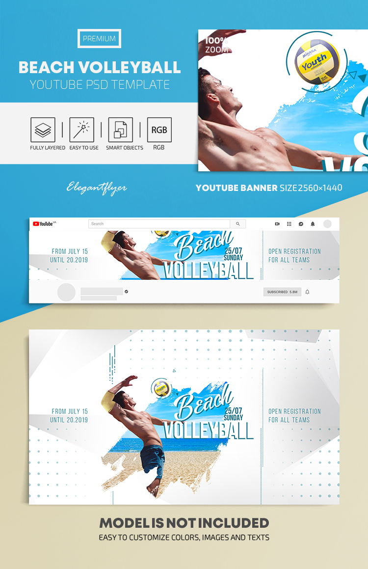 Beach Volleyball – Youtube Channel banner PSD Template