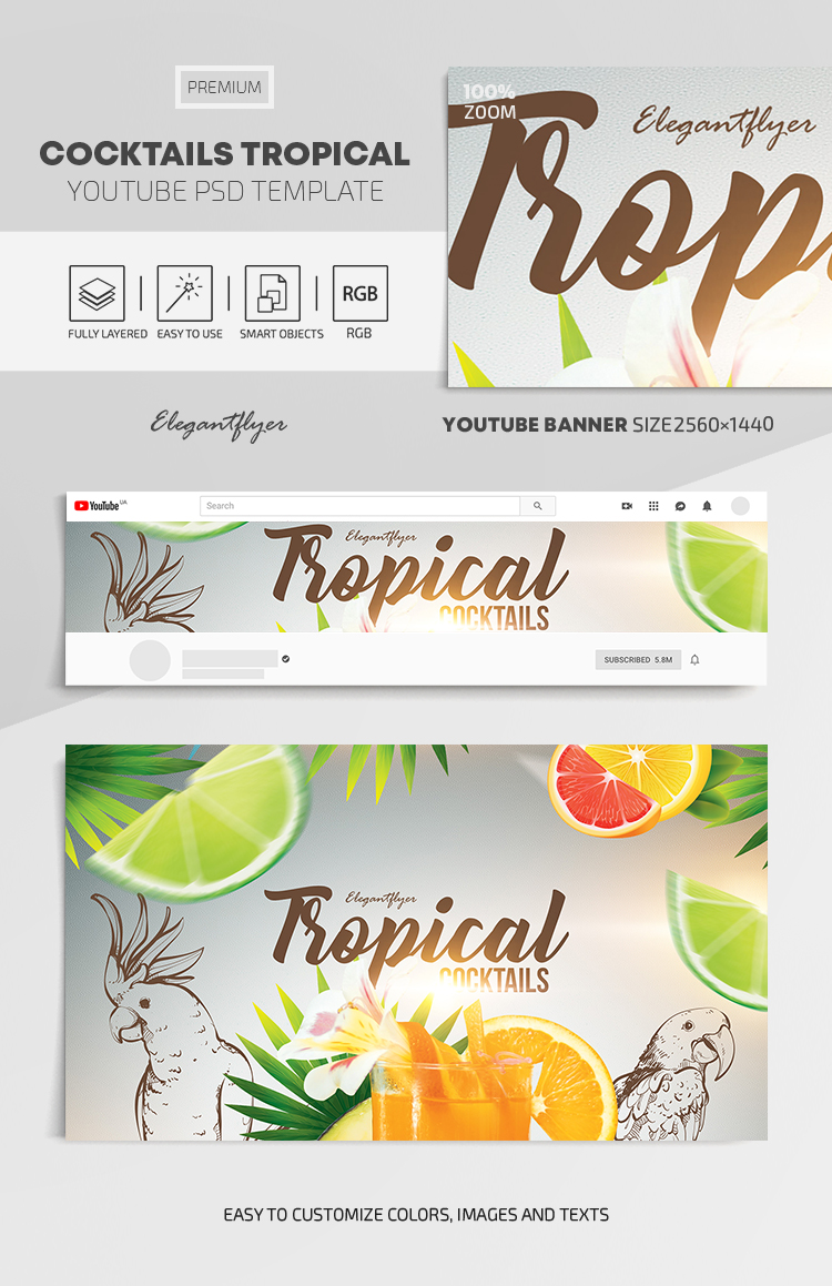 Cocktails Tropical – Youtube Channel banner PSD Template