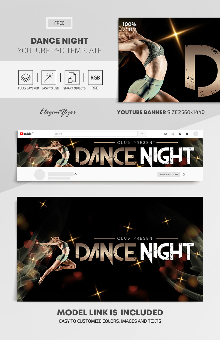 Dance Night – Free Youtube Channel banner PSD Template