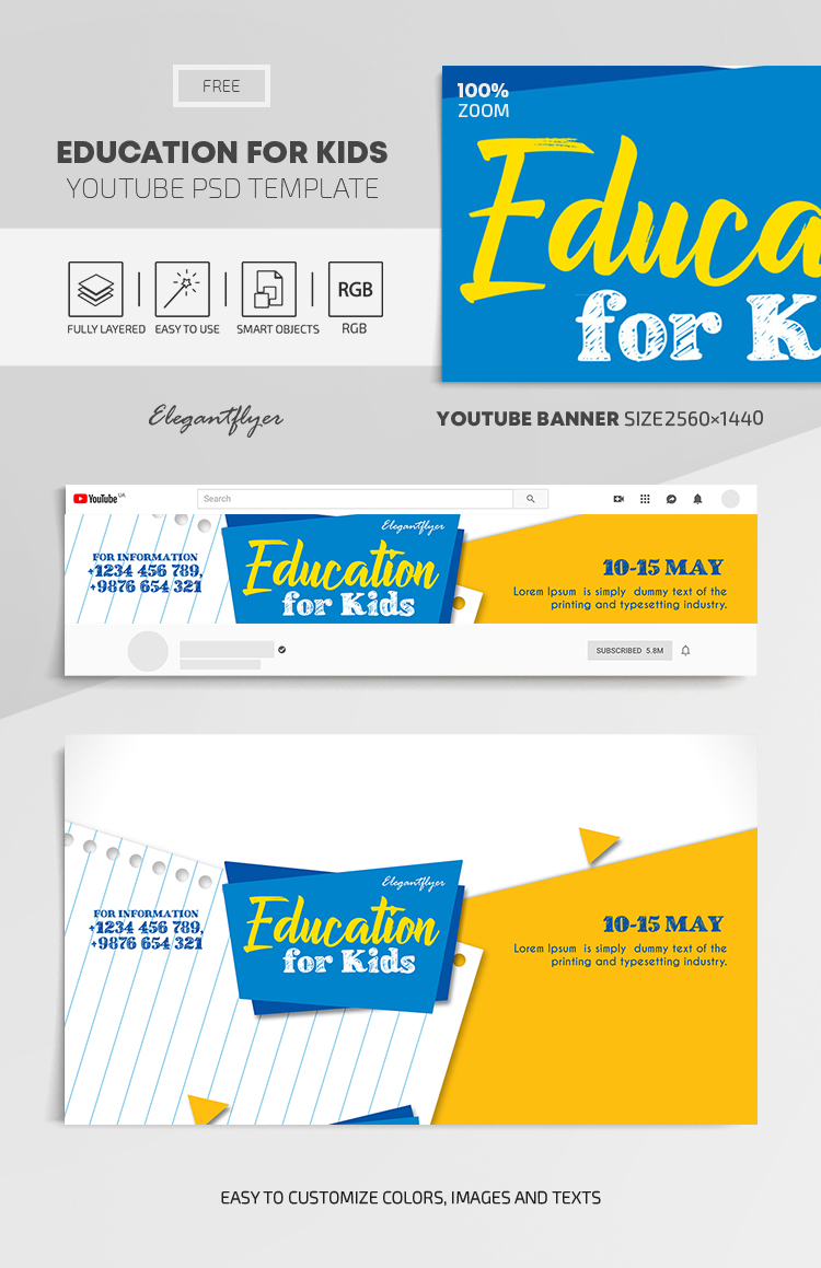 Education for Kids – Free Youtube Channel banner PSD Template
