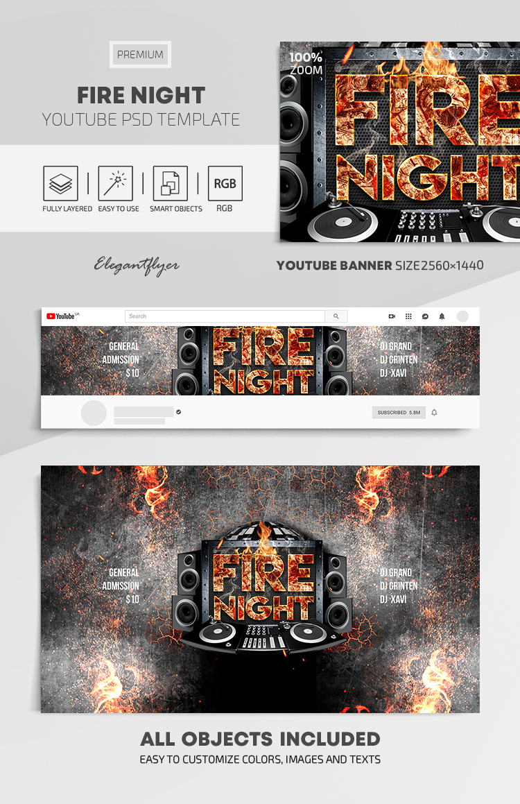 Fire Night – Youtube Channel banner PSD Template